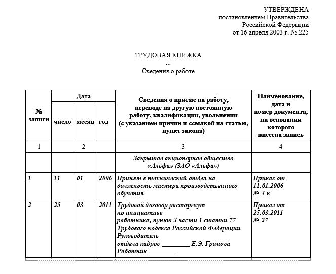 Уволен по собственной инициативе (пункт 3 части первой статьи 77 ТК РФ)